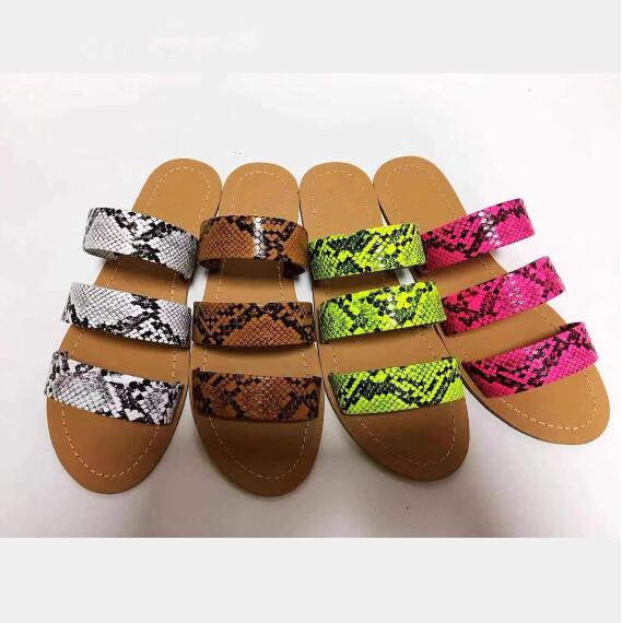 2020 new women slippers fashion wild snake double layer sandals flat bottom ladies beach shoes outdoor travel  flip flop 4