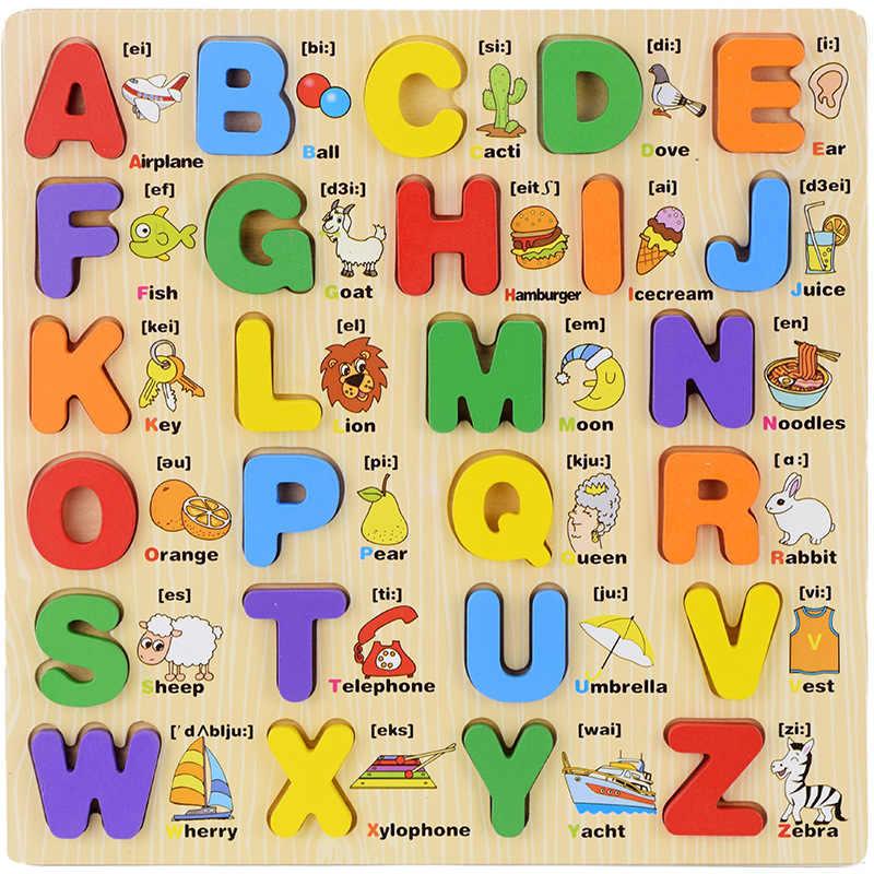 เด็ก Montessori การเรียนรู้ Capital ตัวพิมพ์เล็กตัวอักษรบอร์ดจำนวนภาษาการศึกษาของเล่นไม้เด็ก Lettre Scrabble