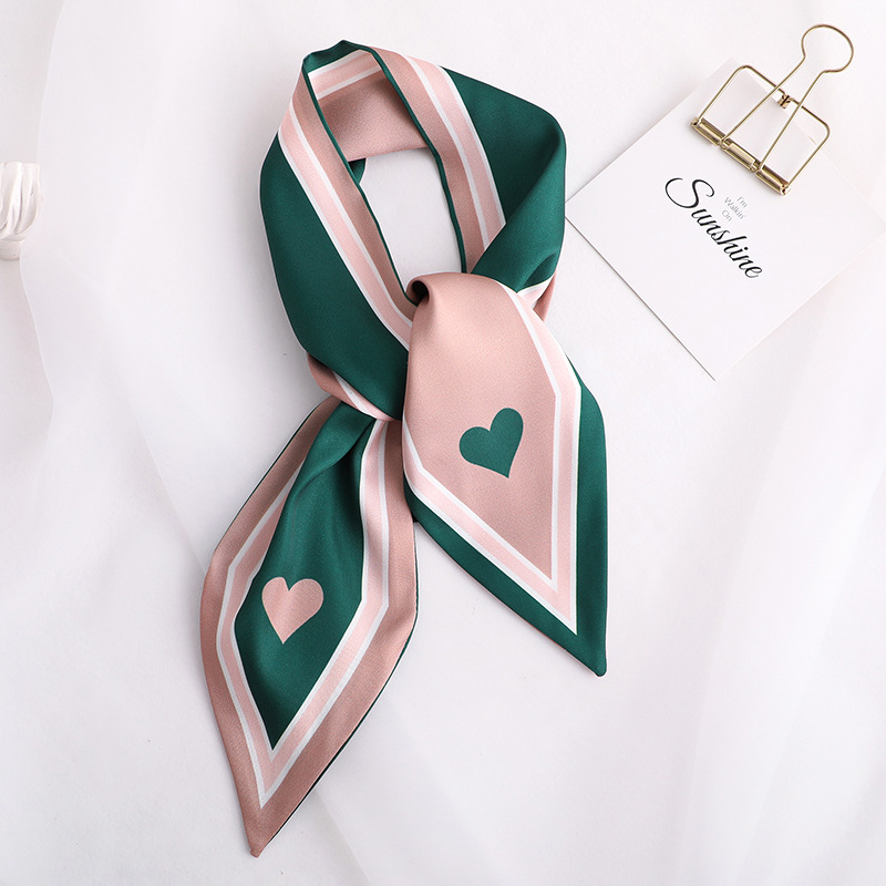 Sweet Love Print Women Small Silk Scarf Handle Bag Ribbons Female Head Scarves Sharp Angle Green  90*10cm