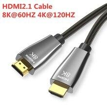 HDMI 2.1 kabloları 8K 60Hz 4K 120Hz 48Gbps bant genişliği ark Video kablosu amplifikatör TV yüksek çözünürlüklü multimedya arayüzü