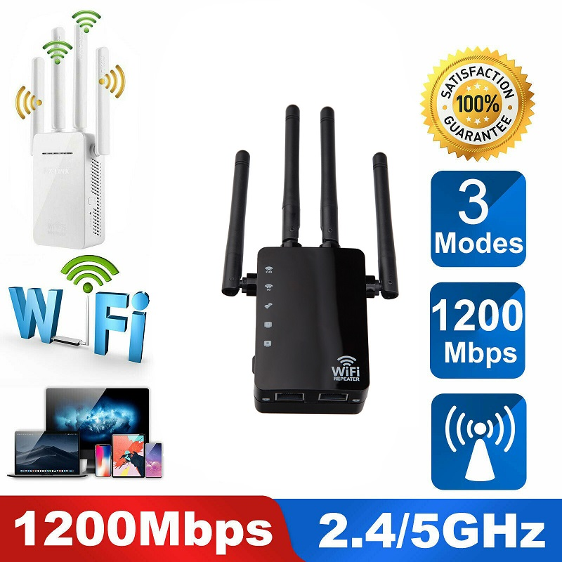 5Ghz Wireless WiFi Repeater 1200Mbps Router Wifi Booster 2.4G Wifi Long Range Extender 5.8G Wi-Fi Signal Amplifier Repeater Wifi