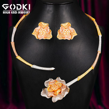 GODKI 3 Tone Luxury 4PCS Rose Flowers African Jewelry Sets For Women Wedding Cubic Zirconia Dubai Bridal SetS Costum Jewelry