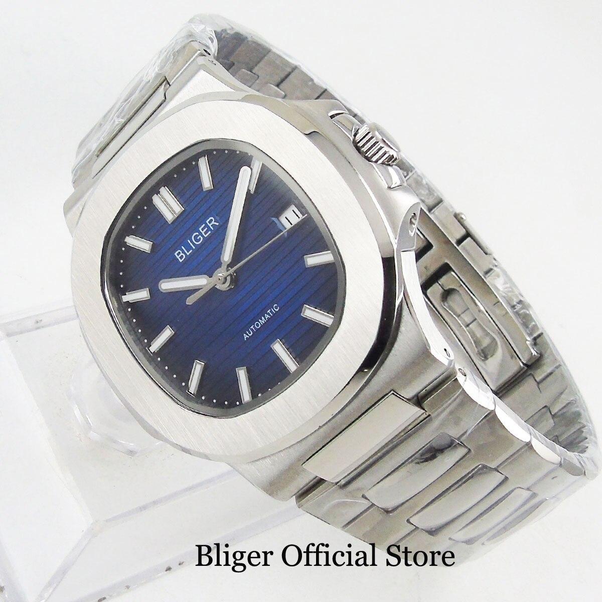 Luxury Style Dress 40mm Men Watch Automatic Movement Blue Sterile Dial Sapphire Glass Date Window Mental Strap Screw Down Crown - 4
