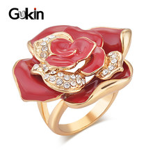 Gukin New Exaggerated Big Rose Luxury Ring Dubai Gold Color Exquisite Enamel Rings For Women Engagement Party Jewelry(China)