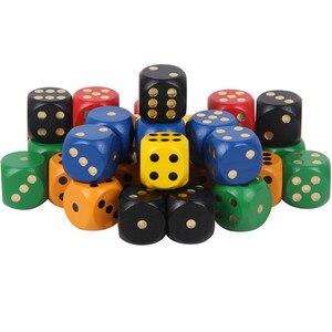 5 шт. упак. 30 мм 6-сторонние красочные деревянные кости, Большие твердые игровые закругленные игральные кости, питьевые кубики для Маджонга, а...