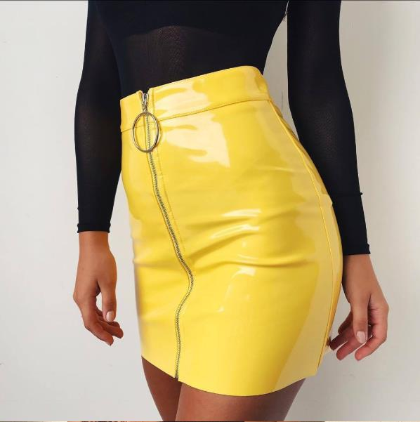 Summer Women's Skirts Solid Fashion High Waist Circle Zipper Shiny PU Leather Mini Short Pencil Mini Skirt 2019 Hot Sale