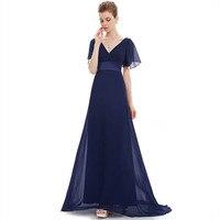 Double V neck Short Sleeve Evening dress Evening Desses For women 2019 LT006 Floor Length Elegant Robe De Soiree Formal Gown