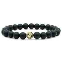 Classic Football/Baseball Matte Lava Stone Beads Bracelets For Women Men Elastic Hand Jewelry DropShipping 8MM