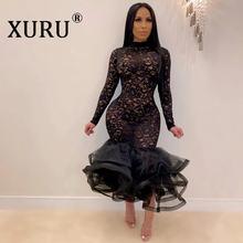Xuru Европа и США сексуальное Сетчатое кружевное платье 2020
