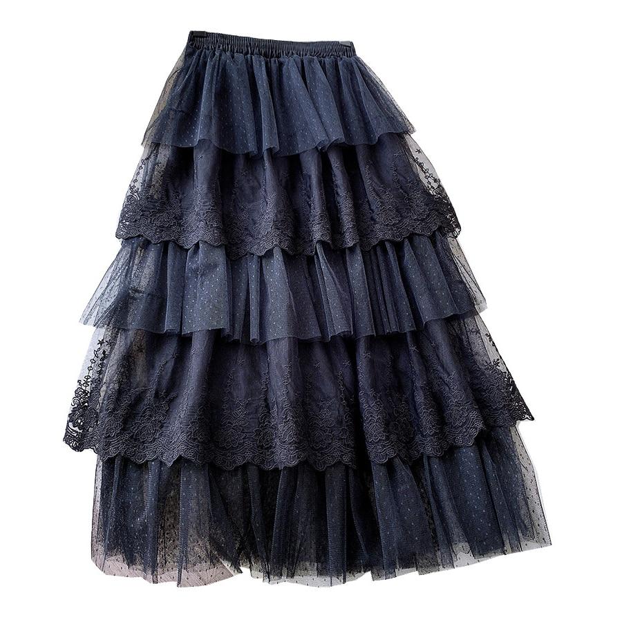 Gentle Lace Cake Skirt Sweet Flower Embroidered Fairy Skirt 2020 New Spring Summer Polka Dot Korean Fluffy Skirt