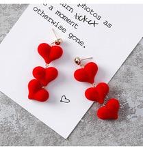 Simple Plush Mane Peach Love Series Long Earrings Lady Ear Jewelry Female Earings Fashion  Drop