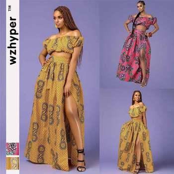 Moda Dashiki afrykański styl damski garnitur seksi koszulka spódnica drukowane słowo ramię koszulka z lampionowymi rękawami wysoki podział luźna spódnica tanie i dobre opinie wzhyper Poliester WOMEN