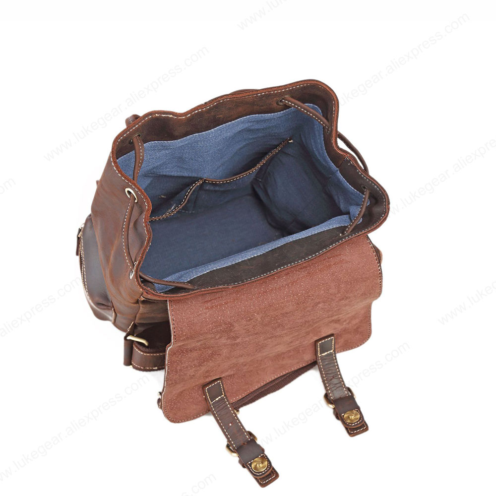 Женский рюкзак ручной работы из натуральной кожи, рюкзаки для путешествий, высококачественные школьные сумки из прочного материала - 4