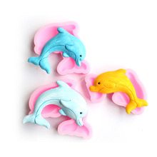 DIY Dolphin Fondant Cake Silicone Mold Cookies Candy Mould Pastry Chocolate Molds Decorating Baking Tools 3d owl animal silicone soap mold resin clay candle molds fondant cake decorating tools chocolate candy pastry cake baking molds