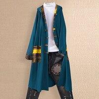 Women Coat Retro Loose Hooded Coat Long Sleeve Ethnic Style Printed Windbreaker Vintage Long Outwear
