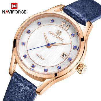 NAVIFORCE 5010 New Women's Fashion Leather Quartz Watch Luxury with box