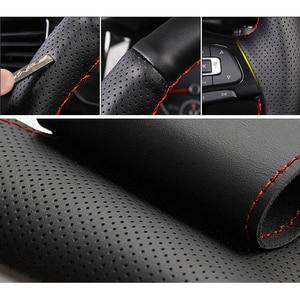 Image 3 - Black Genuine leather Car Steering Wheel Cover for Honda Accord 9 2013 2014 2015 2016 2017 Crosstour 2013 2014 2015