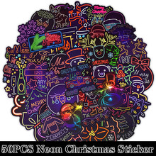 50Pcs/pack Christmas Neon Series Stickers Santa Claus Doodle Sticker for Laptop Mouse Motorcycle Skateboard Luggage Guitar