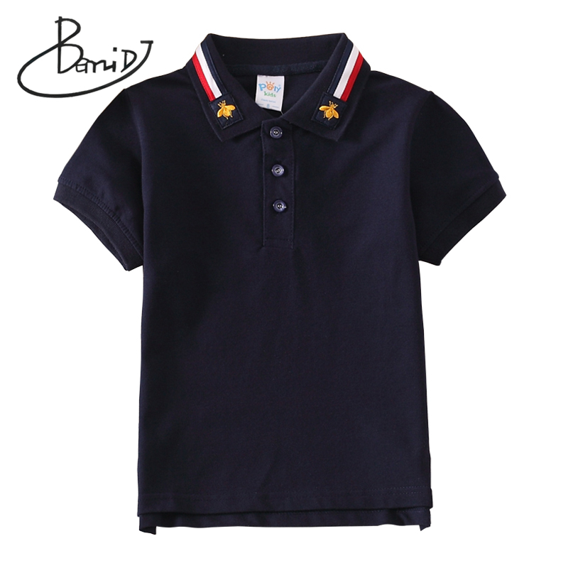 BEMIDJ Boys Summer Turn-down Collar T-shirt 2020 Child Striped Clothes Kids Short Sleeve 6 Color Childrens Cotton Tops Clothing