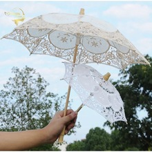 Little Girl Sun Umbrella Mini Vintage Wood Embroidery Cotton Lace Umbrellas Wedding Umbrellas Wedding Gift Photo Props Kids Gift