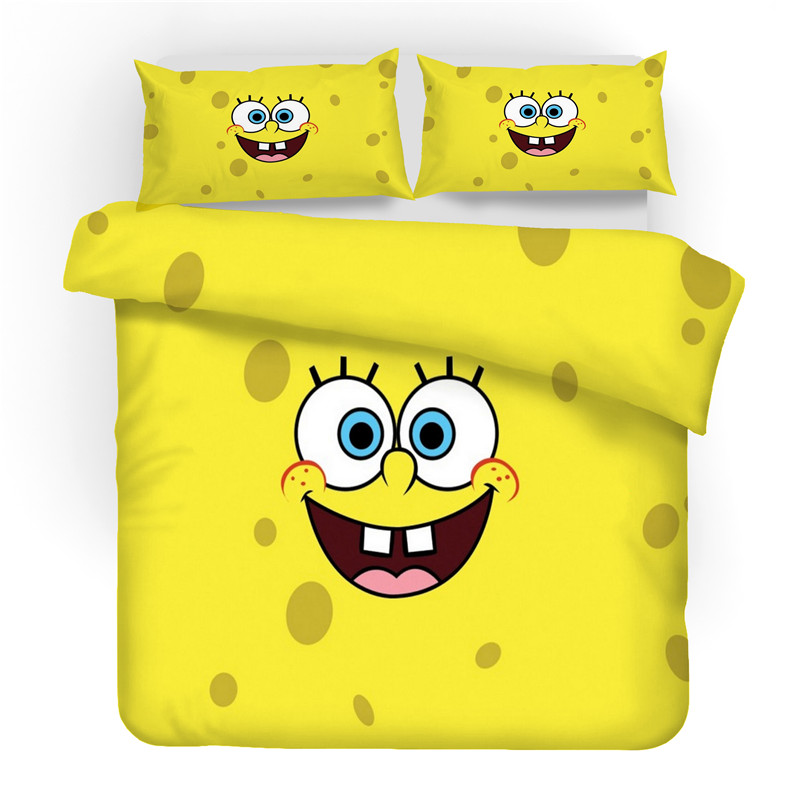 Juego de ropa de cama con estampado 3D SpongeBob SquarePants Friends regalo edredón juego de Textiles para el hogar. 100% Mulberry seda cama almohada/lujo Rosa oro Natural cabeza almohadas para dormir Material de relleno estilo europeo envío gratis