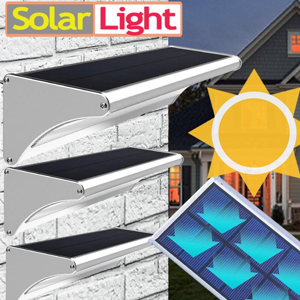 Solar conduziu a luz ao ar livre para luzes da lâmpada do jardim energia rua parede lanterna com sensor de movimento alumínio à prova d65 água ip 65