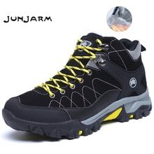 JUNJARM جديد الرجال أحذية الشتاء مع الفراء 2019 حذاء الثلج عالي الرقبة دافئ الرجال الشتاء أحذية أحذية عمل أحذية رجالي موضة المطاط حذاء قصير