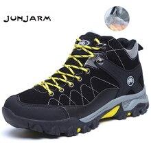 JUNJARM חדש גברים מגפי חורף עם פרווה 2019 חם שלג מגפי גברים חורף מגפי נעלי עבודת גברים הנעלה אופנה גומי קרסול נעליים