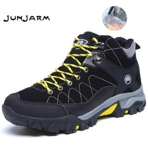 Image 1 - Junjarm novos homens botas de inverno com pele 2019 quente botas de neve homens botas de inverno sapatos de trabalho calçados masculinos moda borracha tornozelo sapatos