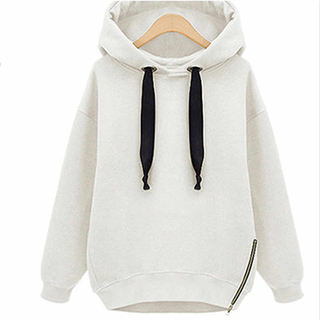 Europa Wit Sweatshirt Vrouwen Effen Kleur Harajuku Lange Hoodies Jurk Winter Fleece Warm Houden Jassen Hooded Trui Mantel