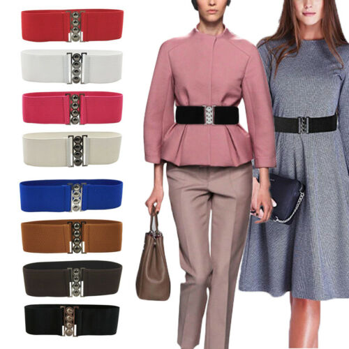Women Fashion Solid Stretch Buckle Waist Belt Wide Elastic Cinch Corset Waistband Cummerbunds