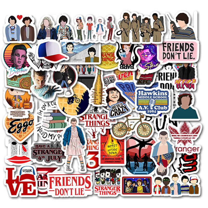 50pcs/Pack Waterproof Stranger Things Stickers Skateboard Suitcase Snowboard Fridge Phone Laptop Sticker Kids Reward Classic Toy