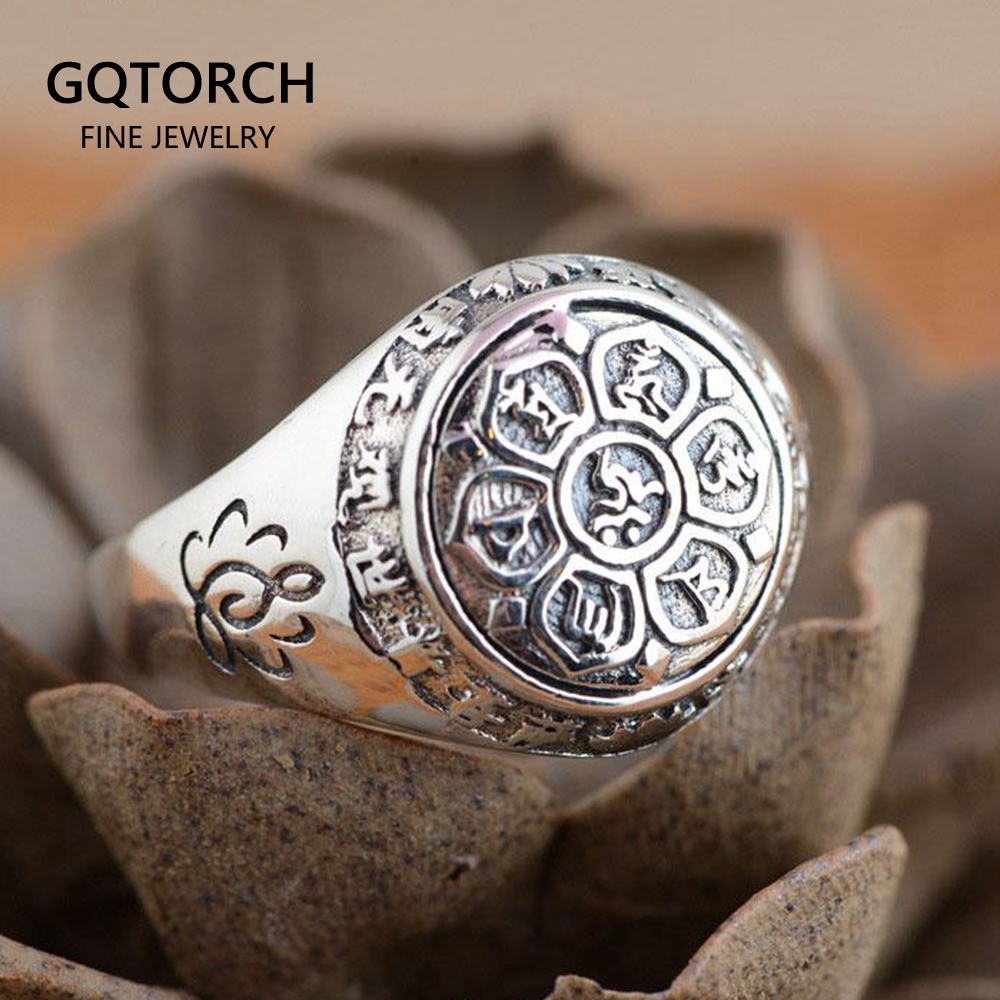 Real Solid 925 Sterling Silver Jewelry Vintage Buddha Six Words' Mantra Rings For Women And Men Bijouterie Fine