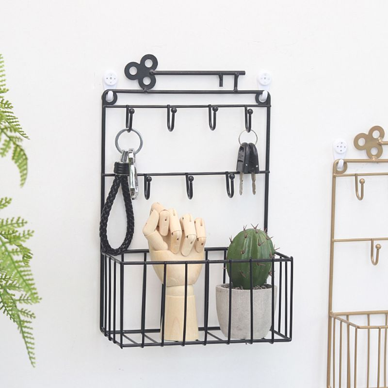 Wall Mounted Mail and Key Holder 7 Hook Rack Organizer Pocket and Letter Sorter for Entryway Kitchen Home Office Decor E65B|Hooks & Rails| |  - title=