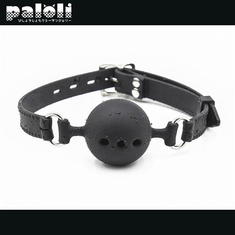 Игрушка для взрослых для женщин, сексуальный силиконовый кляп-шар, БДСМ бондаж, фиксаторы, открытый рот, дышащий секс-шар, ремешок, кляп, аксе...