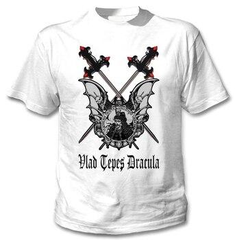 VLAD TEPES دراكولا الخفافيش و السيوف-جديد القطن أبيض T قميص القطن تي شيرت أزياء تي شيرت شحن مجاني المحملة زائد حجم