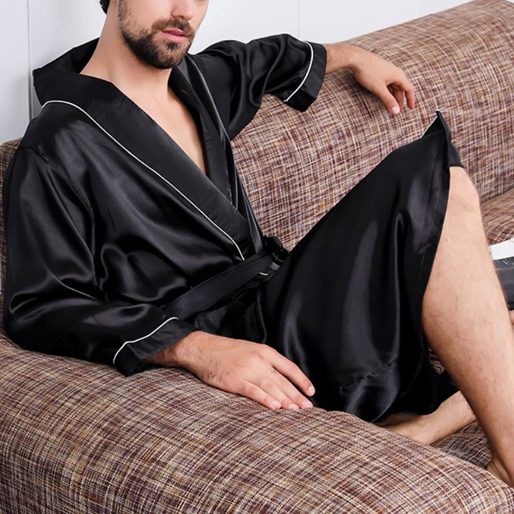 Men Nightgown Long Sleeve Robe Large Size Black Bathrobe Comfortable Sleepwear Imitation Silk With Pockets Waist Belt Home Gown