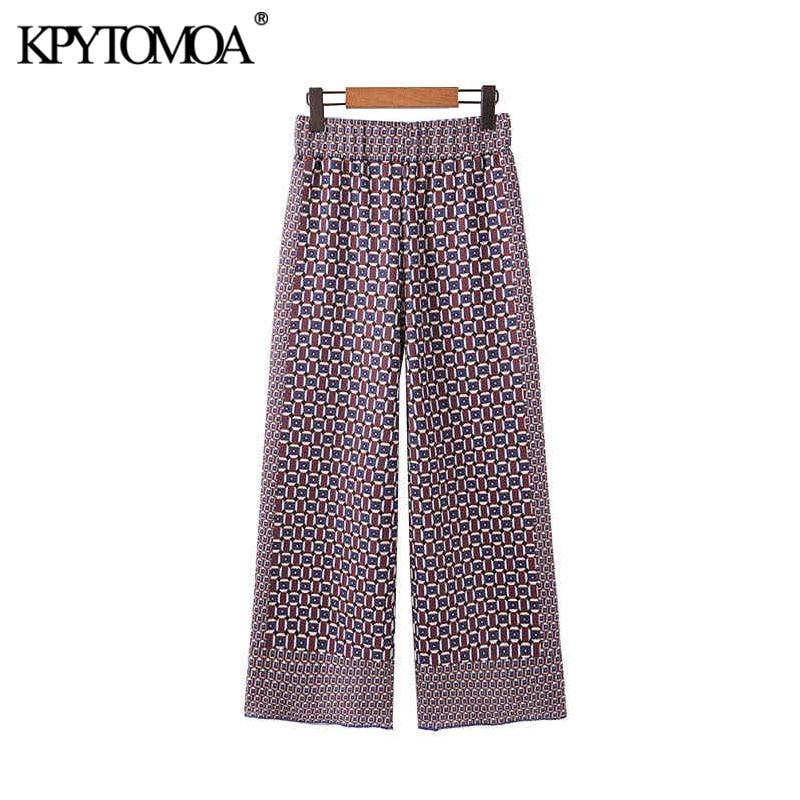 Vintage Chic Geometric Pattern Wide Leg Pants Women 2020 Fashion Elastic Waist Female Calf Leather Trousers Pantalones Mujer