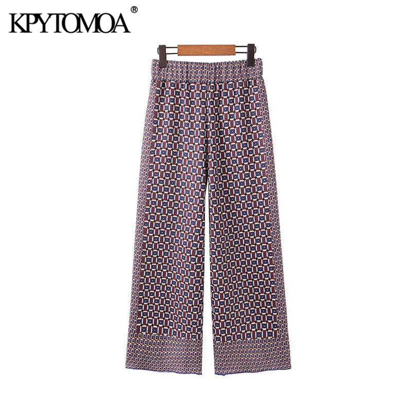 Vintage Chic Geometric Pattern   Wide     Leg     Pants   Women 2020 Fashion Elastic Waist Female Calf Leather Trousers Pantalones Mujer