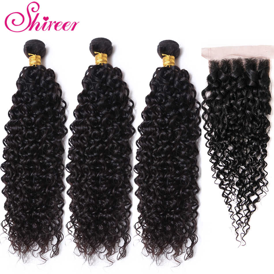 Shireen Hair Products Malaysian Kinky Curly Hair With Closure non Remy Hair Weave 3 Bundles Human Hair Bundles With Lace Closure