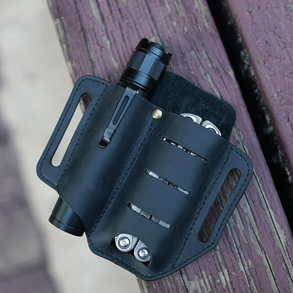 Leather Tool Knife Sheath 2 Pockets Multitools Holder Essentials Organizer Belt Pouch for Pocket Hunt Tactical