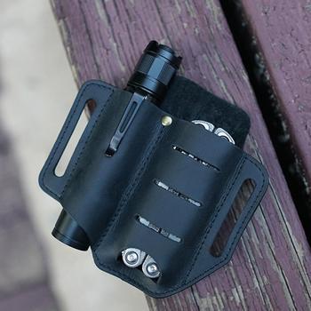 Leather Tool Knife Sheath 2 Pockets Multitools Holder Essentials Organizer Belt Pouch for Pocket Hunt