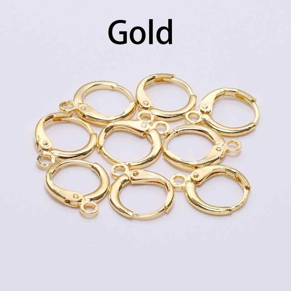 20 ชิ้น/ล็อต 14*12mm Silver Gold Bronze ภาษาฝรั่งเศส Lever ต่างหูตะขอลวดการตั้งค่าฐาน Hoops ต่างหูสำหรับ DIY เครื่องประดับทำ Supplie