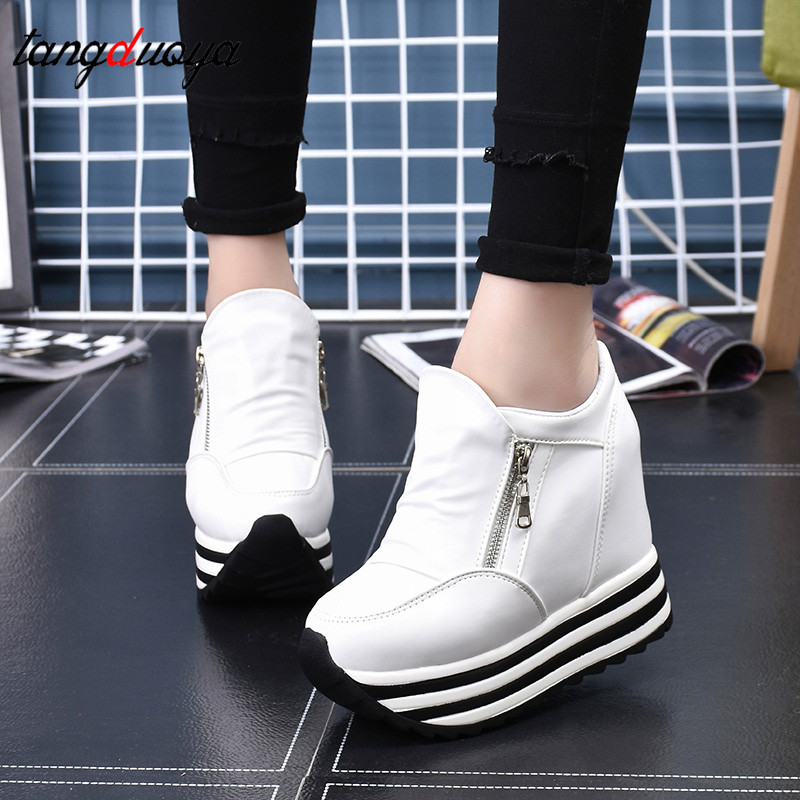 White Platform Sneakers Women Shoes High Heels Ladies Casual Shoes Women Wedges Platform Shoes Female Thick Trainers Women