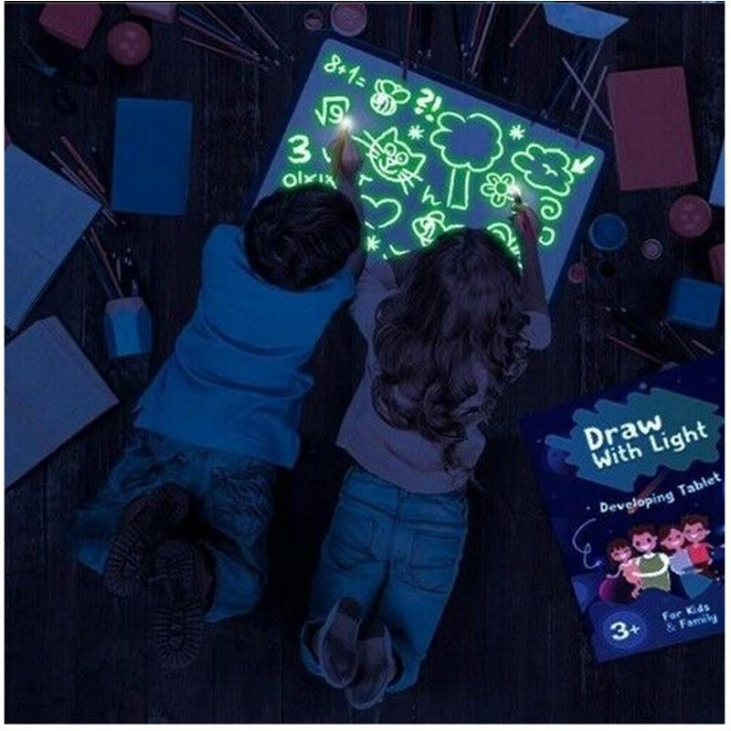 Gran tamaño iluminar tablero de dibujo luz en la oscuridad niños juguete de pinturas DIY Educaitonal 2019 niño niña Juguetes Tren Eléctrico RC tren magnético ranura de fundición de juguete apto para trenes de madera estándar tren de Madera Juguetes para niños para chico