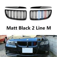 Een Paar Gloss Black Auto Front Nieren Grill Dubbele Slat Voor Bmw E90 E91 3 Serie 320i 325i 328i 2005 2008 Auto Accessoires
