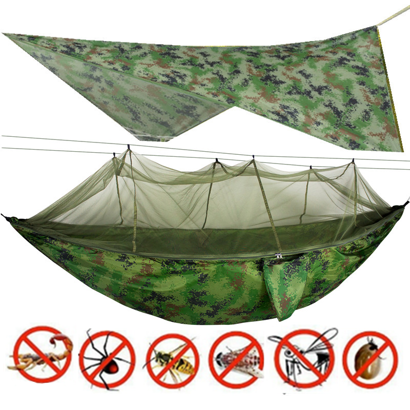 Camping/garden Hammock with Mosquito Net Outdoor Furniture 1-2 Person Portable Hanging Bed Strength Parachute Fabric Sleep Swing 1