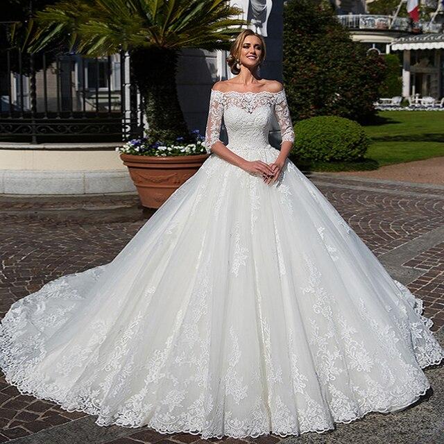 Appliques dentelle robe de bal musulmane robes de mariée avec photo voile Aliexpress connexion col haut à manches longues à lacets robes de mariée