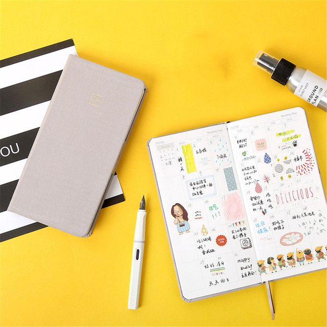1pc Candy Color Notebook Pocket Weekly Planner Agenda Organizer Schedule Monthly Planner Diary Journal Writing Pad Stationery