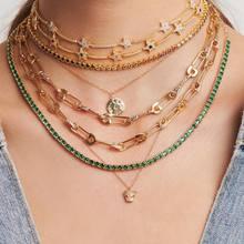 Vintage unikatowe kobiety biżuteria złoto micro pave cz agrafka link choker łańcuszek naszyjnik 32 + 8cm